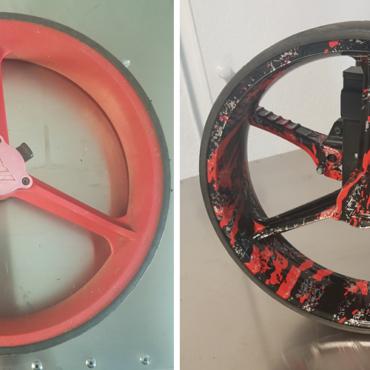 Demontage pneu et roulement preparation mise en peinture pose film et vernis sur roue de chariot de golf